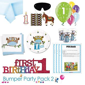 Little Owl Boy 1st Birthday Party Tableware Bumper Pack 2