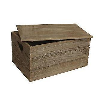 Large Oak Effect Heart Cut Handle Wooden Lidded Storage Box