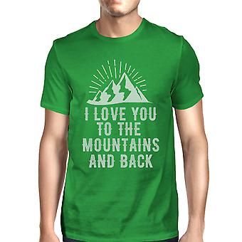 Mountain And Back Men's Green Cotton Tee Unique Graphic T Shirt