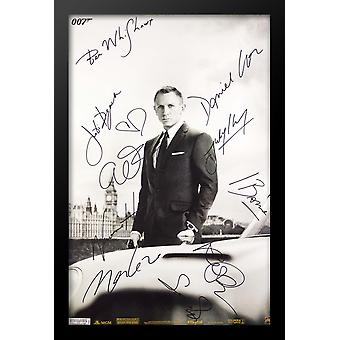 Skyfall James Bond Cast firmato Movie Poster legno incorniciato