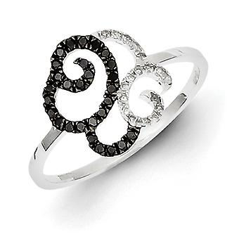 Sterling Silver Black and White Diamond Swirls Ring - Ring Size: 6 to 8