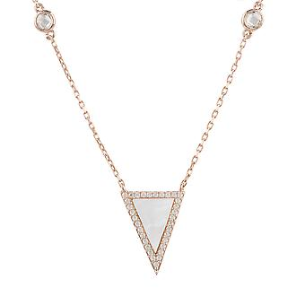 White Mother of Pearl Triangle Necklace Rosegold