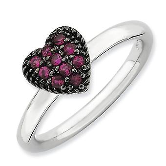 2.25mm Sterling Silver Stackable Expressions Cr Ruby Heart Ring - Ring Size: 5 to 8