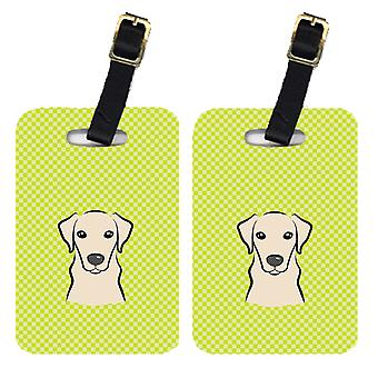 Pair of Checkerboard Lime Green Yellow Labrador Luggage Tags