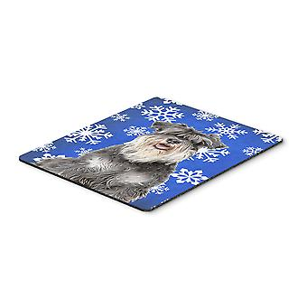 Winter Snowflakes Holiday Schnauzer Mouse Pad, Hot Pad or Trivet