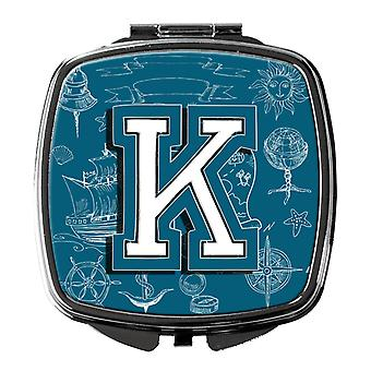 Letter K Sea Doodles Initial Alphabet Compact Mirror