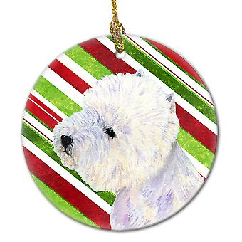 Carolines Treasures  LH9225-CO1 Westie Candy Cane Holiday Christmas Ceramic Orna