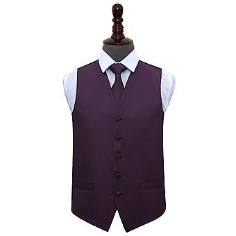 Gilet de mariage clé grecque Cadbury Purple & cravate ensemble