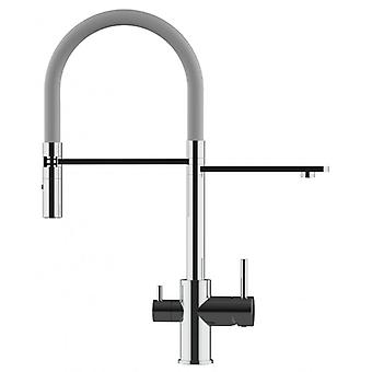 The three-way faucet chrome kitchen with grey and pull-out spray 2 jets for use with filter