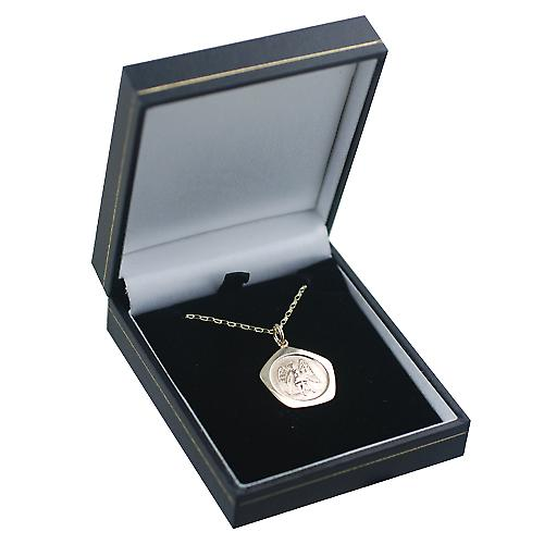 9ct Gold 21mm five sided Virgo Zodiac Pendant with a belcher Chain 16 inches Only Suitable for Children
