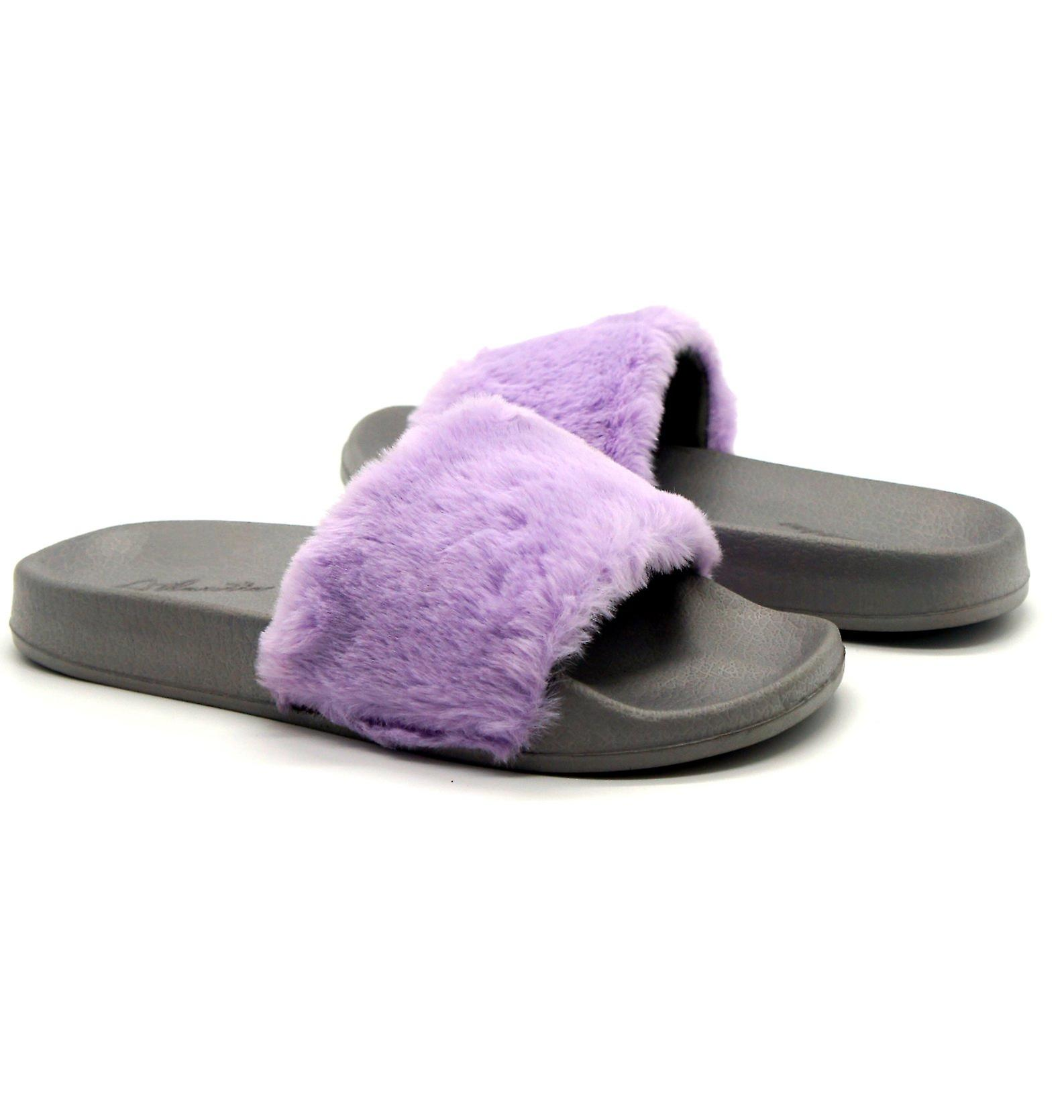 Atlantis Shoes Women Supportive Cushioned Comfortable Sandals Sliders Fluffy Purple