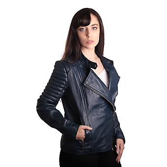 Ladies Bella Navy Blue Carla Leather Jacket