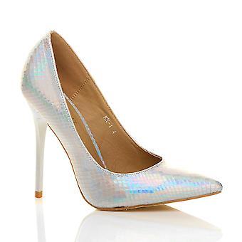 Ajvani mujeres del alto talón acentuado bombas de zapatos de trabajo de contraste corte partido inteligente