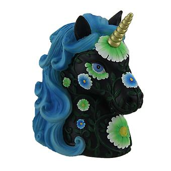 Nydelig svart og Bright Blue Floral Design Unicorn mynt Bank