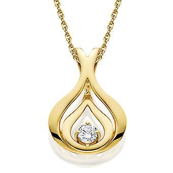 Diamond Solitaire Pendant & Chain Yellow Gold 5/8