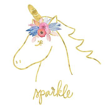 Golden Unicorn Iii Sparkle Poster Print by Noonday Design