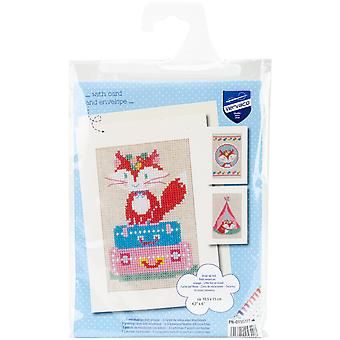 Little Fox Greeting Cards On Aida Counted Cross Stitch Kit-4.2