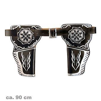 Double Holster ca. 90 cm revolver belt Sheriff cowboy of Wild West Gunslinger