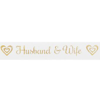 15mm White Husband & Wife Gold Printed Ribbon - 20m | Ribbons & Bows for Crafts
