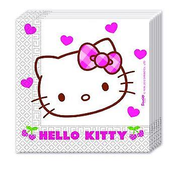 Hello Kitty Hearts Kätzchen Party Servietten 33 x 33 cm 20 Stück Kindergeburtstag Mottoparty
