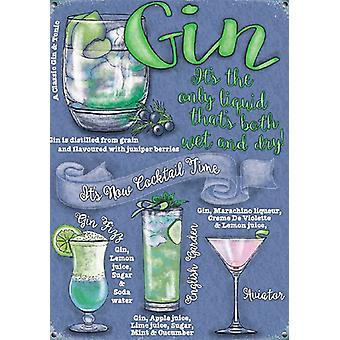 Gin Cocktails Small Steel Sign 200Mm X 150Mm