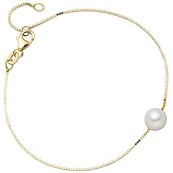 Bracelet 375 Gold Yellow Gold 1 Akoya pearl 20 cm gold Bead Bracelet