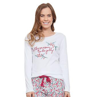 Cyberjammies 3860 kvinners Holly hvit Pajama Pyjama toppen