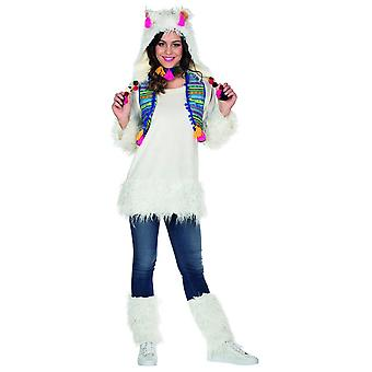 Lama Kostüm Damen Tierkostüm Karneval Bauernhof Alpaka Anden Südamerika