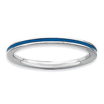Argent sterling poli rhodié empilable Expressions bleu émaillé 1,5 mm bague - bague taille: 5 à 10
