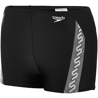 Speedo Boys Kids Monogram Swimming Swim Aquashort Boxer Trunks Shorts - Black