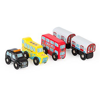 Tidlo Wooden London Vehicle Set (Pack of 5) Playset Accessories
