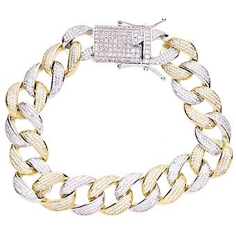 Premium Bling 925 sterling sølv armbånd - MIAMI DEMPE 16mm