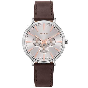 GANT mens watch with leather bracelet silver