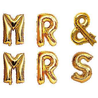 """TRIXES Mr and Mrs 16"""" Metallic Gold Balloon Pack Wedding Decoration"""