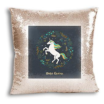 i-Tronixs - Unicorn Printed Design Champagne Sequin Cushion / Pillow Cover with Inserted Pillow for Home Decor - 12