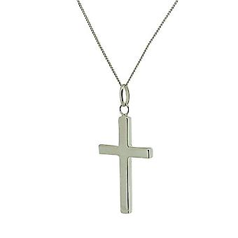 TOC Sterling Silver Polished Cross Pendant Necklace 18