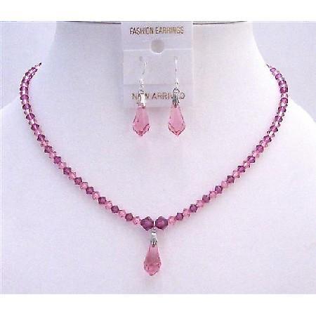 Light Pink & Dark Pink Fuchsia Crystals Bride Bridesmaid Jewelry Set