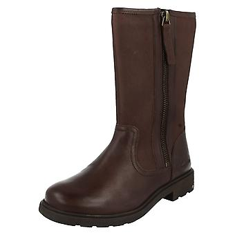 Girls Clarks Boots Ines Rain Brown Size 7 F
