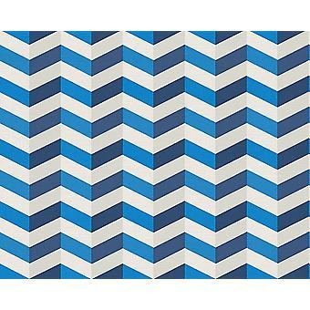 3D Effect Zig Zag Wallpaper Blue Chevron Print Texture Paste Wall AS Creation