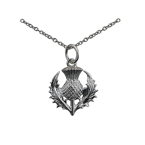Silver 15mm Scottish Thistle Pendant with a rolo Chain 18 inches