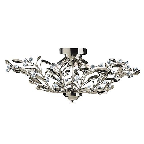 Searchlight 5256-6AB Lima 6 Light Antique Brass Floral Semi-Flush Glass