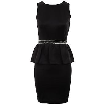 Ladies Black Silver Studded Waist Peplum Bodycon Zip V Back Women's Dress