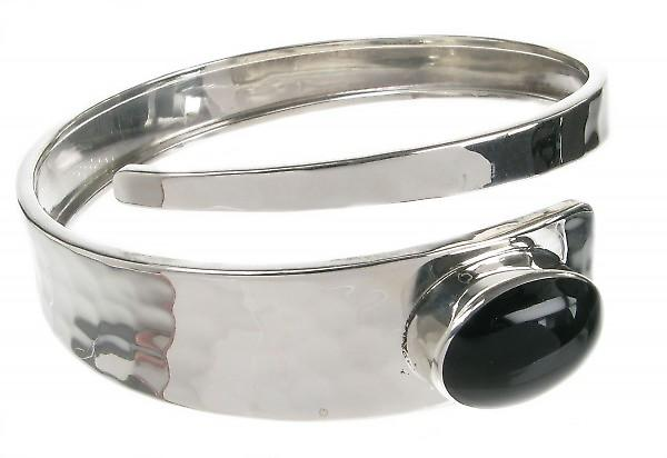 Cavendish French Sterling Silver and Black Agate Hammered Snake Bangle
