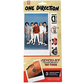 One Direction Jewellery Temporary Tattoo's, 2 Tattoo Sheets