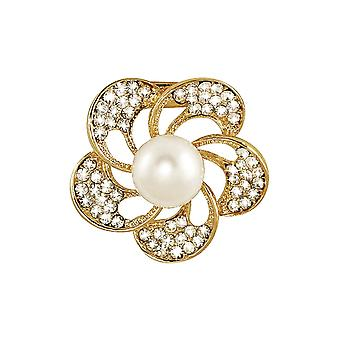 Eternal Collection Gentility Clear Crystal And Faux Pearl Gold Tone Scarf Clip