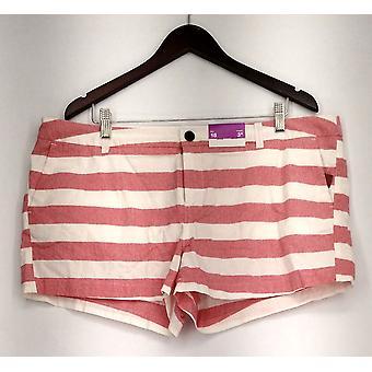 Merona Plus Shorts Zipper Closure Striped Print White & Red New
