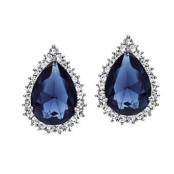 Platinum Plated Blue Cubic Zirconia Stud Earrings, 2.5cm