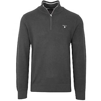 Gant GANT Halb Zip grau Pique Sweatshirt