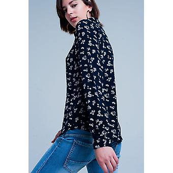 Blouse with flower print in navy