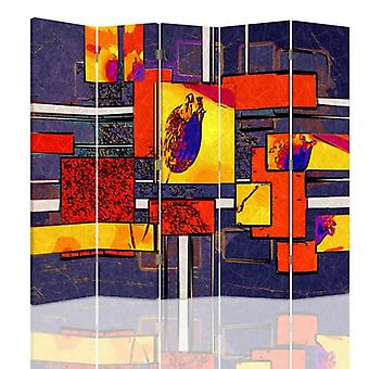 Room Divider, 5 Panels, Double-Sided, Rotatable 360, Canvas, Abstract Geometrical 1